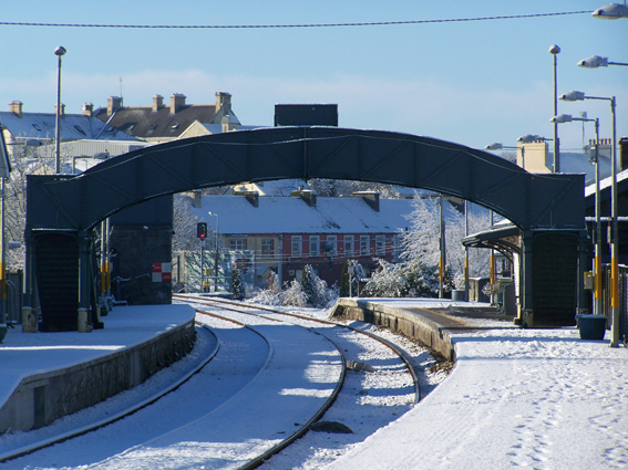 Ballyhaunis Railway Station in the snow